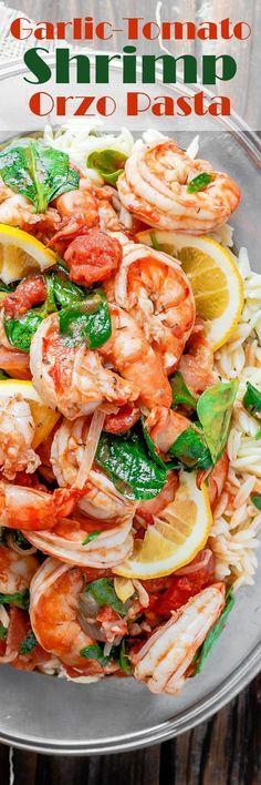 Garlic-Tomato Shrimp Recipe with Orzo #garlicshrimprecipes