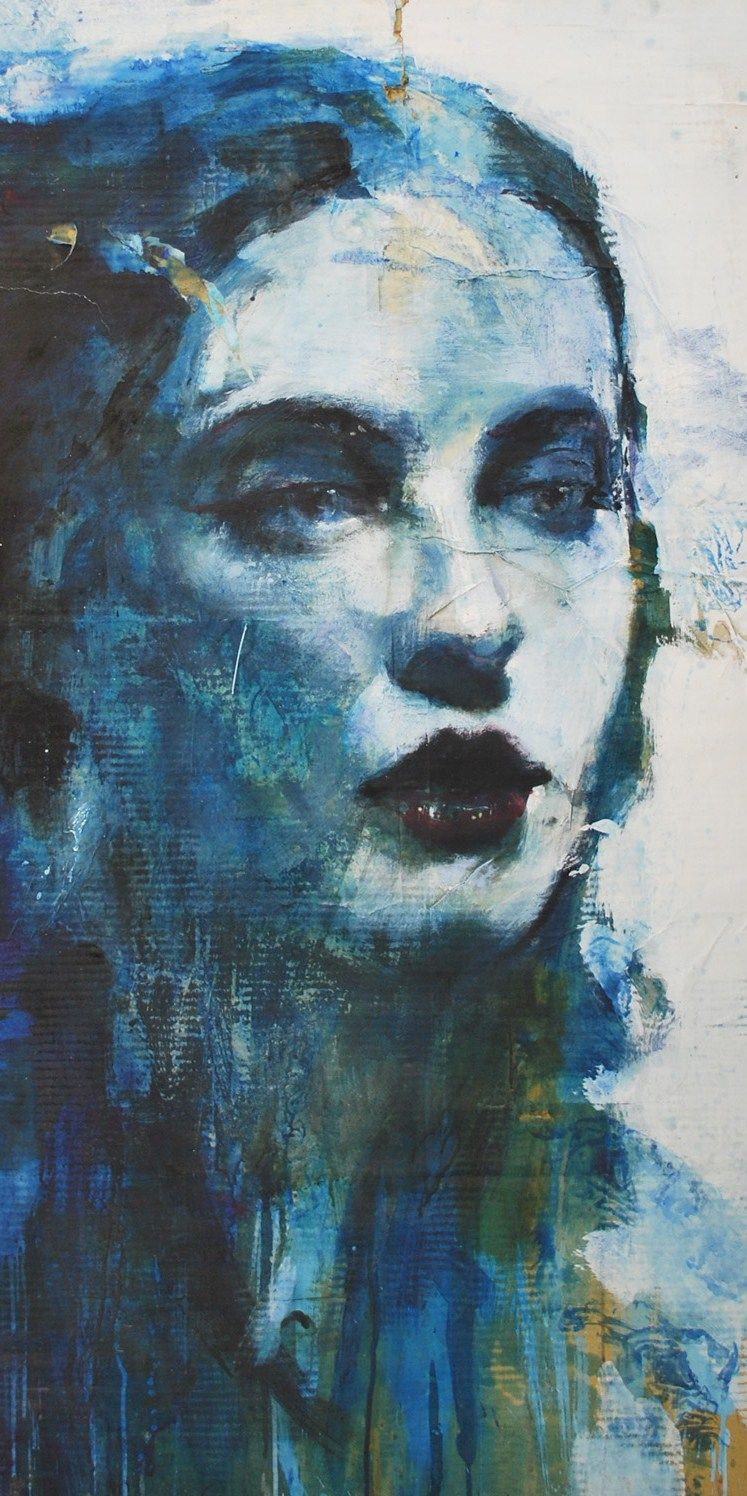 Phinolla's comments: Artist Max Gasparini Italian painter 1970...... I really like that he has used blue has his primary colour to paint the skin tone. I also like that the facial features are the only areas in the portraits that are 3D while the other are are flat and blurred.