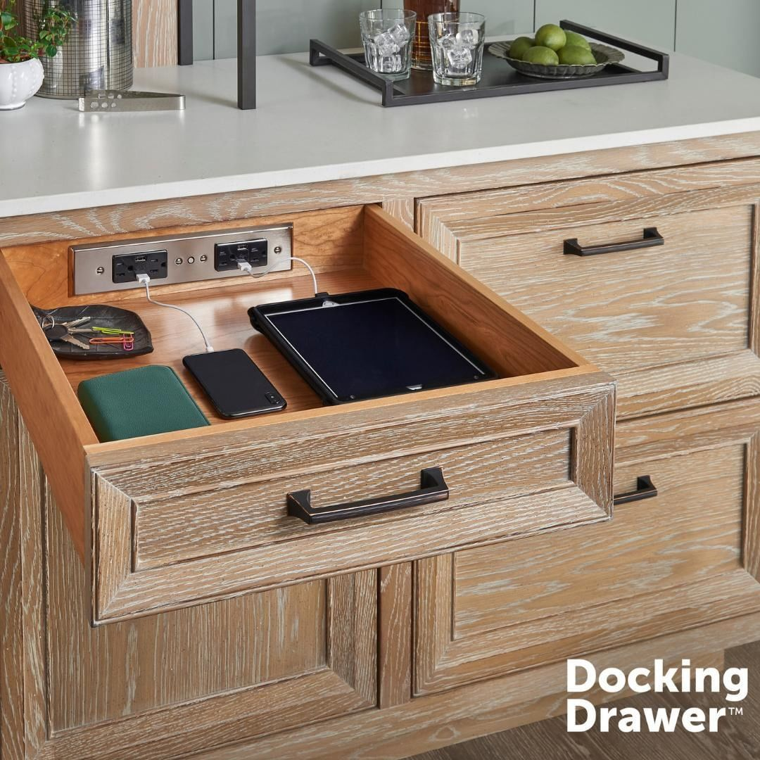 Docking Drawer On Instagram Our Blade Duo In Drawer Outlets Can Charge Up To 8 Devices At Once Now You Can Stay Connected Wit Drawers Storage Storage Bench