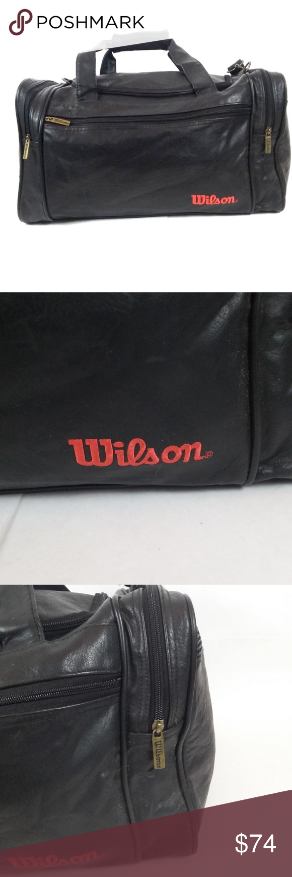 Vintage Wilson Black Leather Duffel Gym Bag Leather