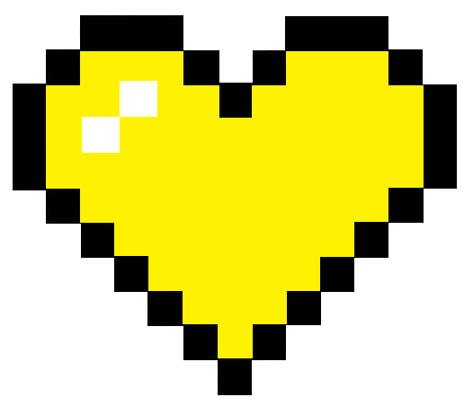 Yellow Pixel Heart Sticker By Mythical Llama Pixel Heart Pixel Heart Stickers