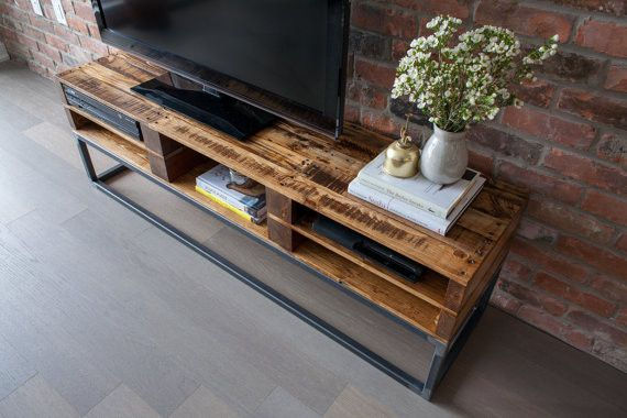 TV Console Reclaimed Pallet Wood Media Stand Entertainment Center / Media  Cabinet - TV Console Reclaimed Pallet Wood Media Stand Entertainment Center