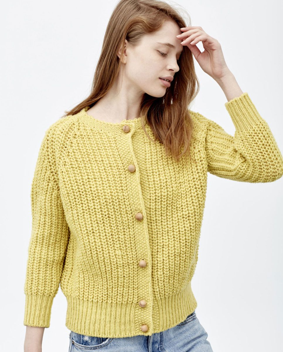 6a8fe6d7507 babaà cardigan no5, acacia — chunky ribbed knit complete with a high ...
