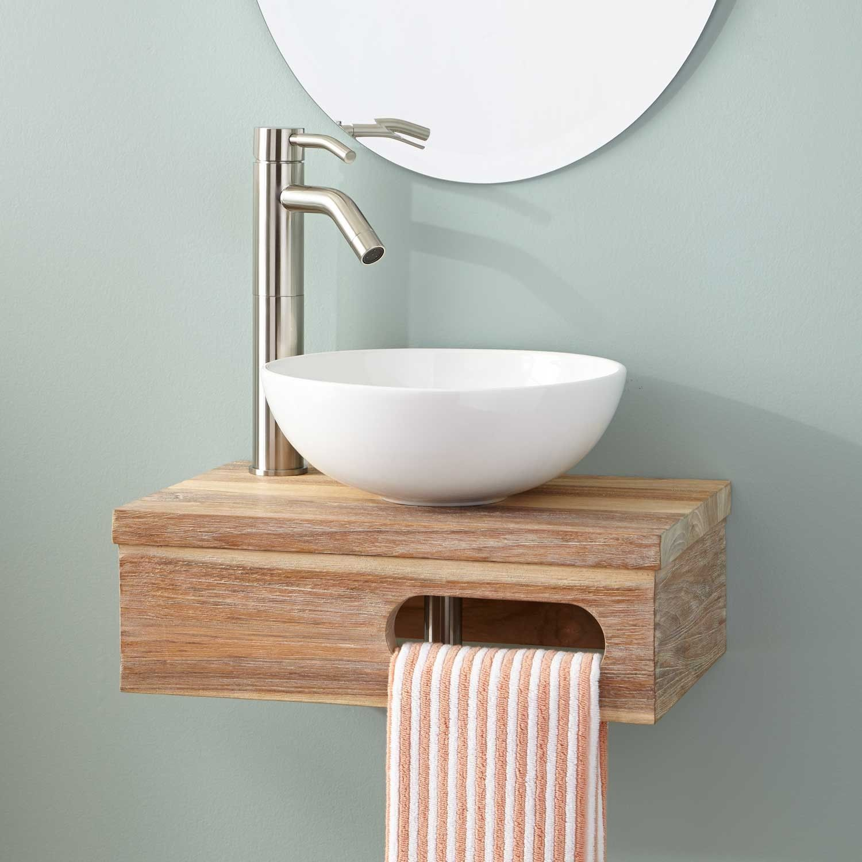 18 dell teak wall mount vessel vanity