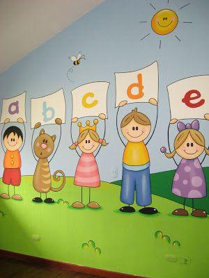 Murales en colegios aula de las letras muebles pinterest las letras colegios y murales - Murales para ninos ...