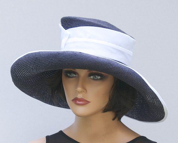 Navy Hat Derby Wedding Formal Wide Brim Grey Fascinator Hats