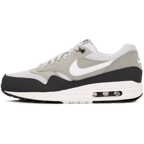 Nike Air Max 1 | Essential Grey White Shoe 537383010 ($120) ❤ liked on Polyvore featuring shoes, athletic shoes, sneakers, white shoes, nike, nike shoes, white athletic shoes and nike athletic shoes