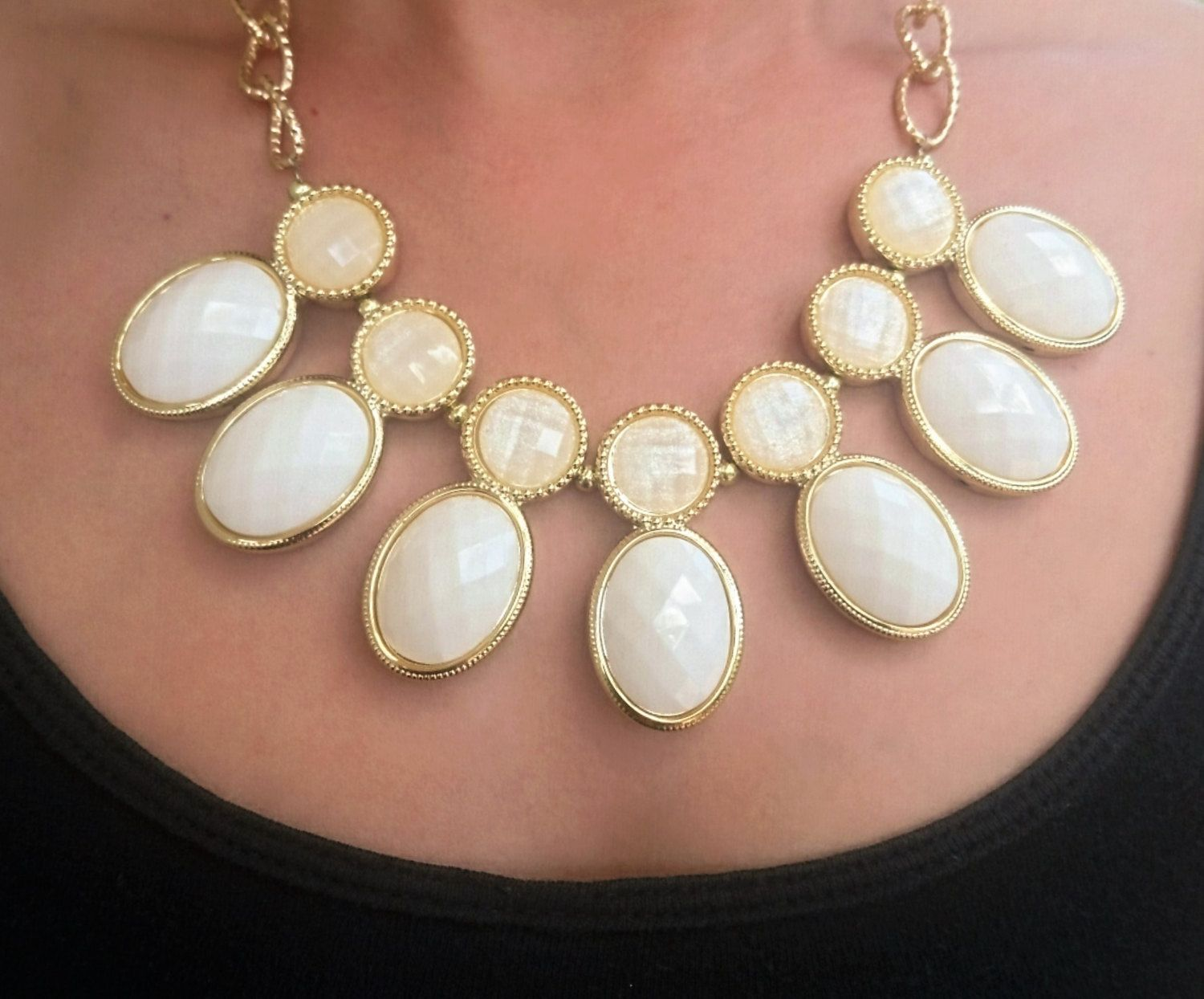 Ivory stone necklace and bracelet set by trendfinity on etsy
