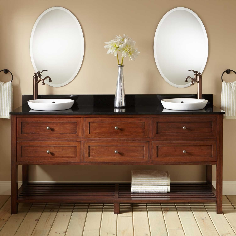 72 taren bamboo double console vanity for semi recessed sink rh pinterest es