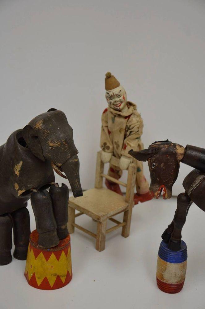 ORIGINAL Antique Schoenhut Toy Circus Clown, Elephant, Donkey, Barrels, & Chair!