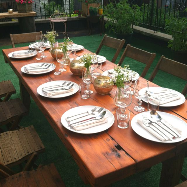 Our backyard table setting, perfect for 10.