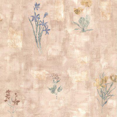 Brewster Twain Terracotta Wildflower Wallpaper - 347-42718