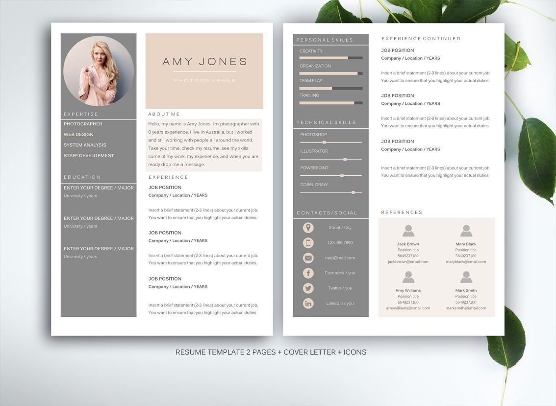 resume template for ms word creative resume tips and offices resume template for ms word by fortunelle resumes on creative market