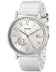 Fossil Women's ES3749 Vintage Muse Three-Hand Day/Date Leather Watch - White