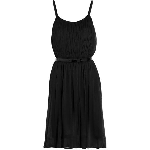 Alice + Olivia Claudia belted pleated chiffon dress (515 BRL) ❤ liked on Polyvore featuring dresses, vestidos, day dresses, black, pleated chiffon dress, pleated dress, pleated cocktail dress, ruched waist dress and chiffon cocktail dresses
