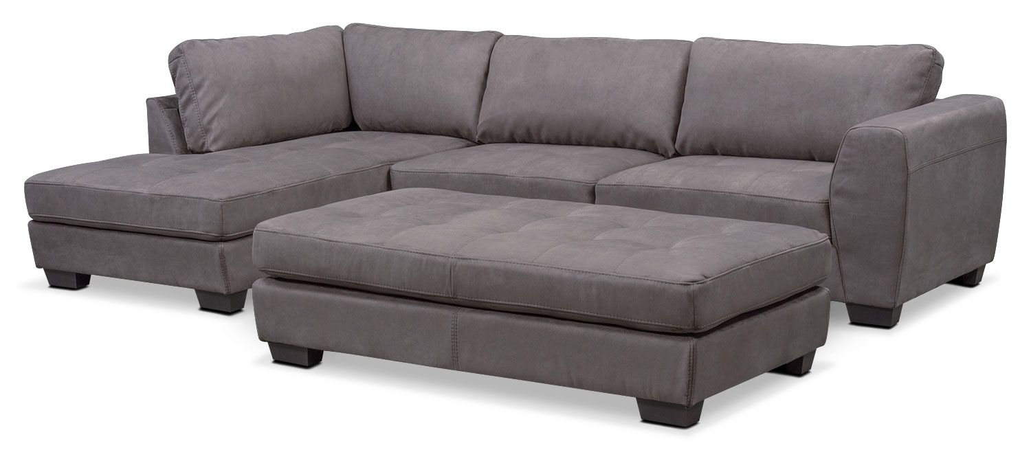 Santana 2 Piece Sectional With Chaise And Cocktail Ottoman