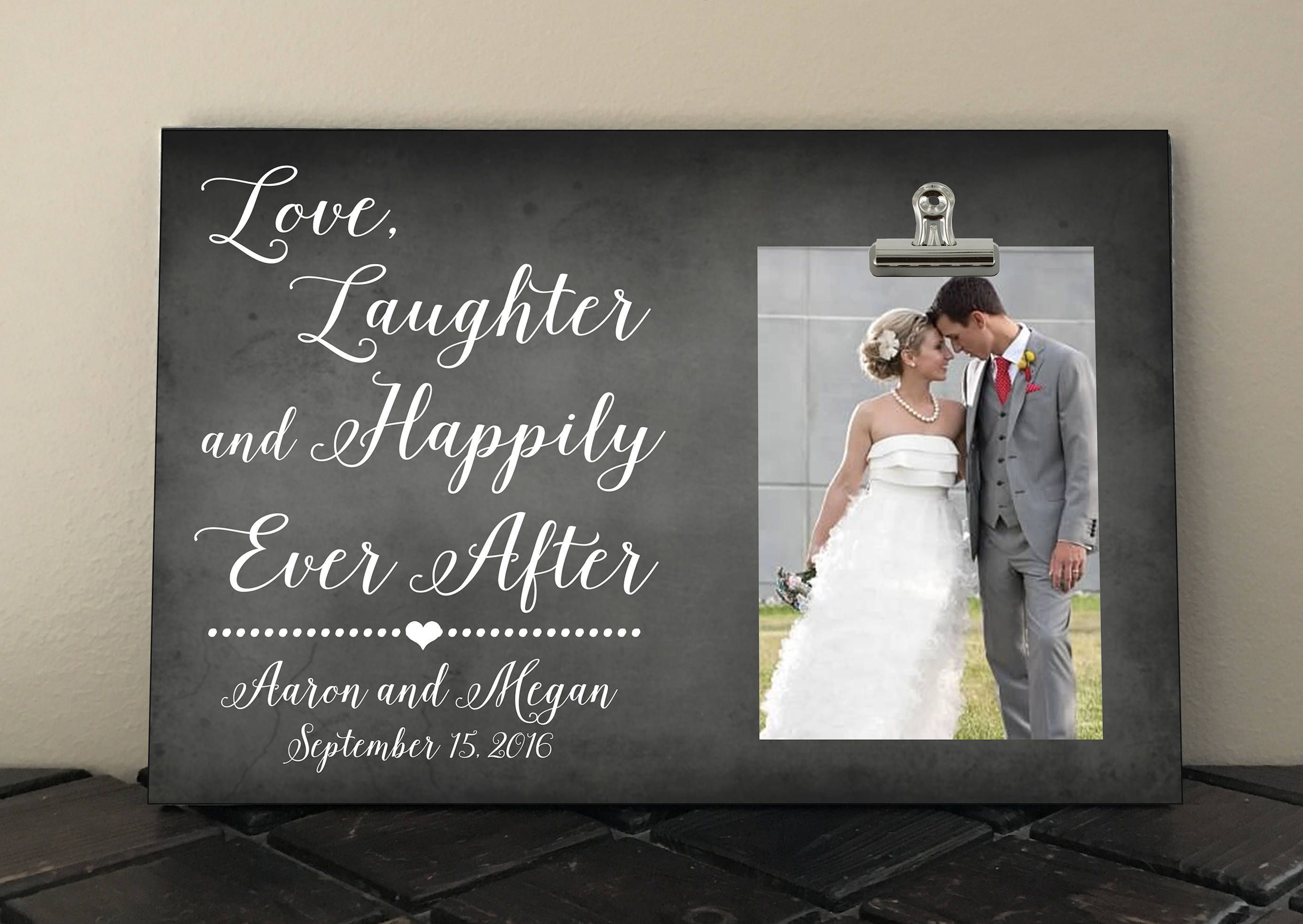 bridal shower themes without gifts%0A Free Design Proof and Personalization  LOVE Laughter and Happily Ever  After  WEDDING or ANNIVERSARY Gift  Bridal Shower Gift  Spouse gift