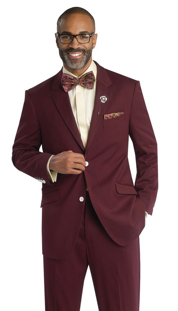 Example Formal%0A New Wine Dot Blazer Dress Mens   Piece Suit M     EJ Samuel Burgundy Formal  Wear