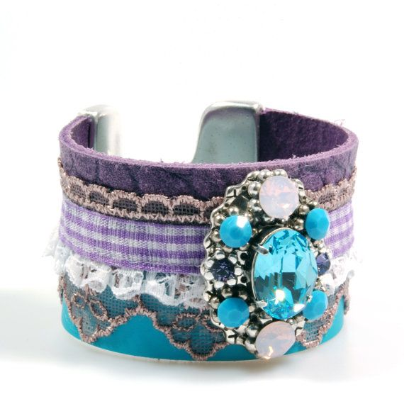 Gypset leather cuff in turquoise and purple with by CatenaSieraden