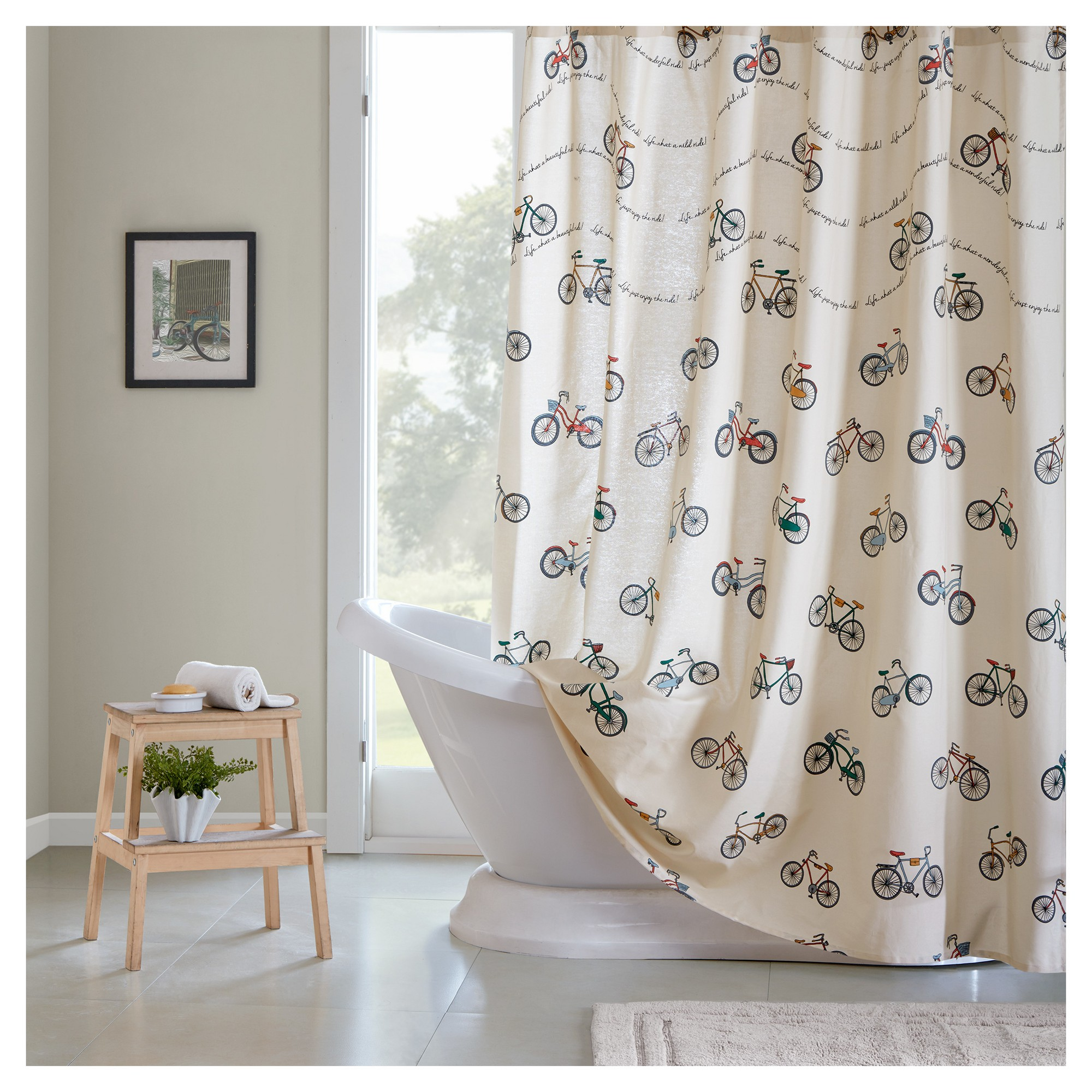 bicycle shower curtain 72 x72 blue cream multi colored rh pinterest at