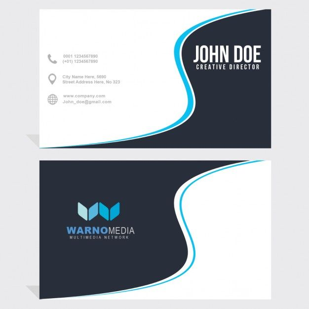 Business card with blue wavy lines free psd design wizytwki business card with blue wavy lines free psd reheart Image collections