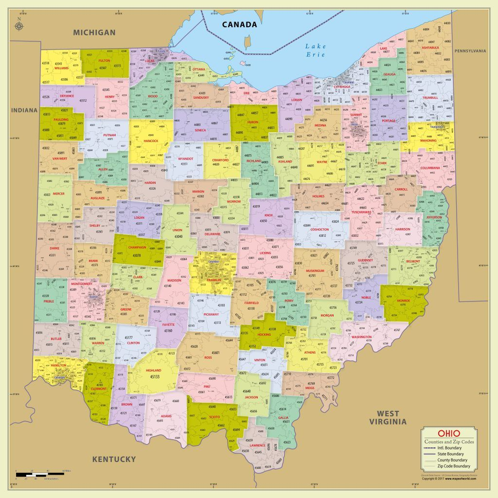 Ohio Zip Code With County With Images Map County Map Zip