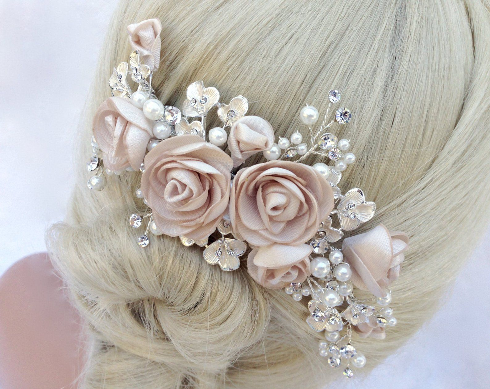 Ivory Crystal Pearl Chiffon silver Hair comb Hair slide Headpiece Fascinator Wedding Bridal Party Rhinestone Diamante