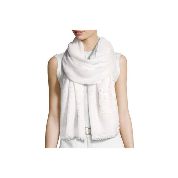 Loro Piana Duo Crystal Metallic Stole ($2,000) ❤ liked on Polyvore featuring accessories, scarves, accessories wraps & stoles, white pattern, loro piana, print scarves, wrap scarves, white scarves and white stole