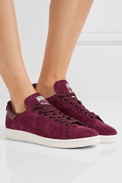 bc0c8e613570 adidas Originals - Stan Smith Leather-trimmed Suede Sneakers - Burgundy