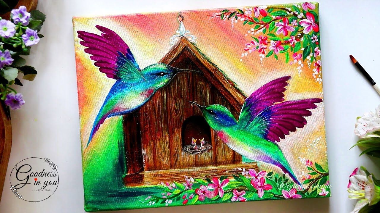 Teachers Day Special Step By Step Hummingbird With A Bird House Painting Tutorial For Beginn Painting Tutorial Bird Paintings On Canvas Nature Art Painting