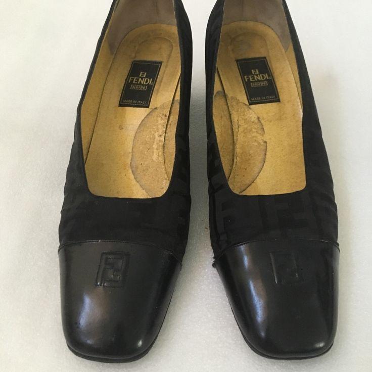 Fendi Shoes  Vintage Fendi Zucca Black Leather Canvas Pumps 10  Color Black   Fendi Shoes  Vintage Fendi Zucca Black Leather Canvas Pumps 10  Color Black