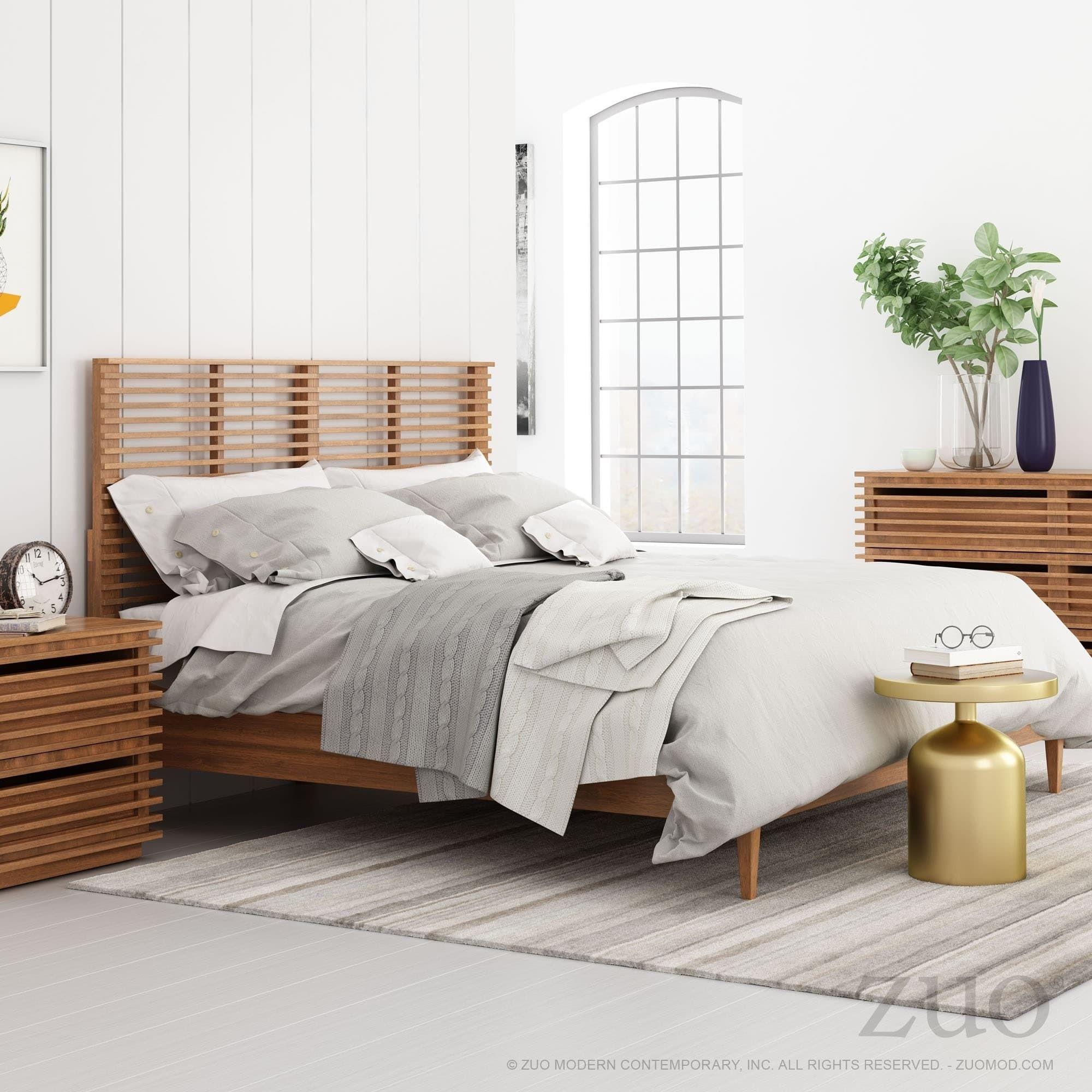 Linea Walnut Finish Wood King Headboard, Brown | Products ...