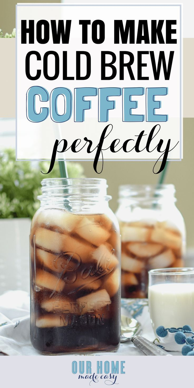 Quick & Easy Cold Brew [Iced Coffee Recipe] Make super easy cold brew for the perfect cup of iced coffee! Cold brew is less bitter than regular coffee and is so tasty! Click over to see the recipe and enjoy a cold glass now!