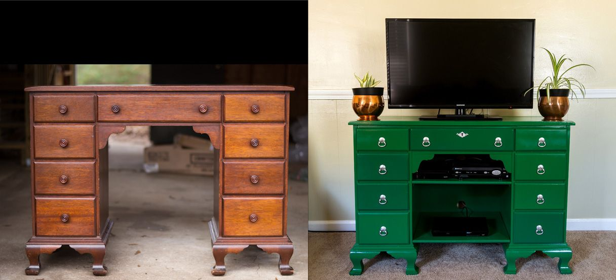 Antique Desk as TV Stand Me