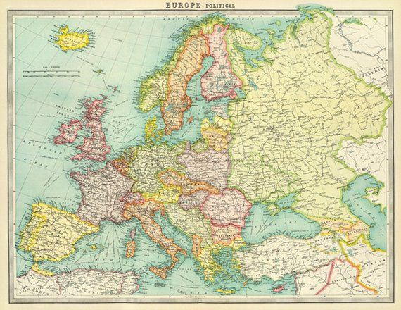 Antique Europe digital map Europe printable map poster Europe