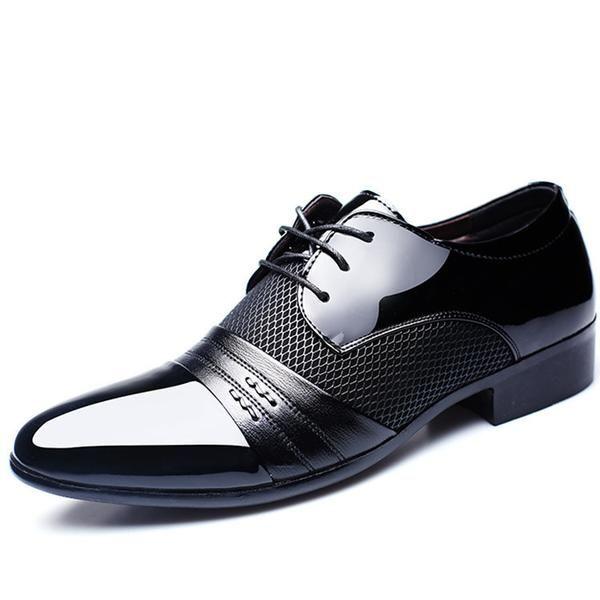 Otoño invierno moda encaje negro hombres zapatos casuales de cuero clásico , black , 41