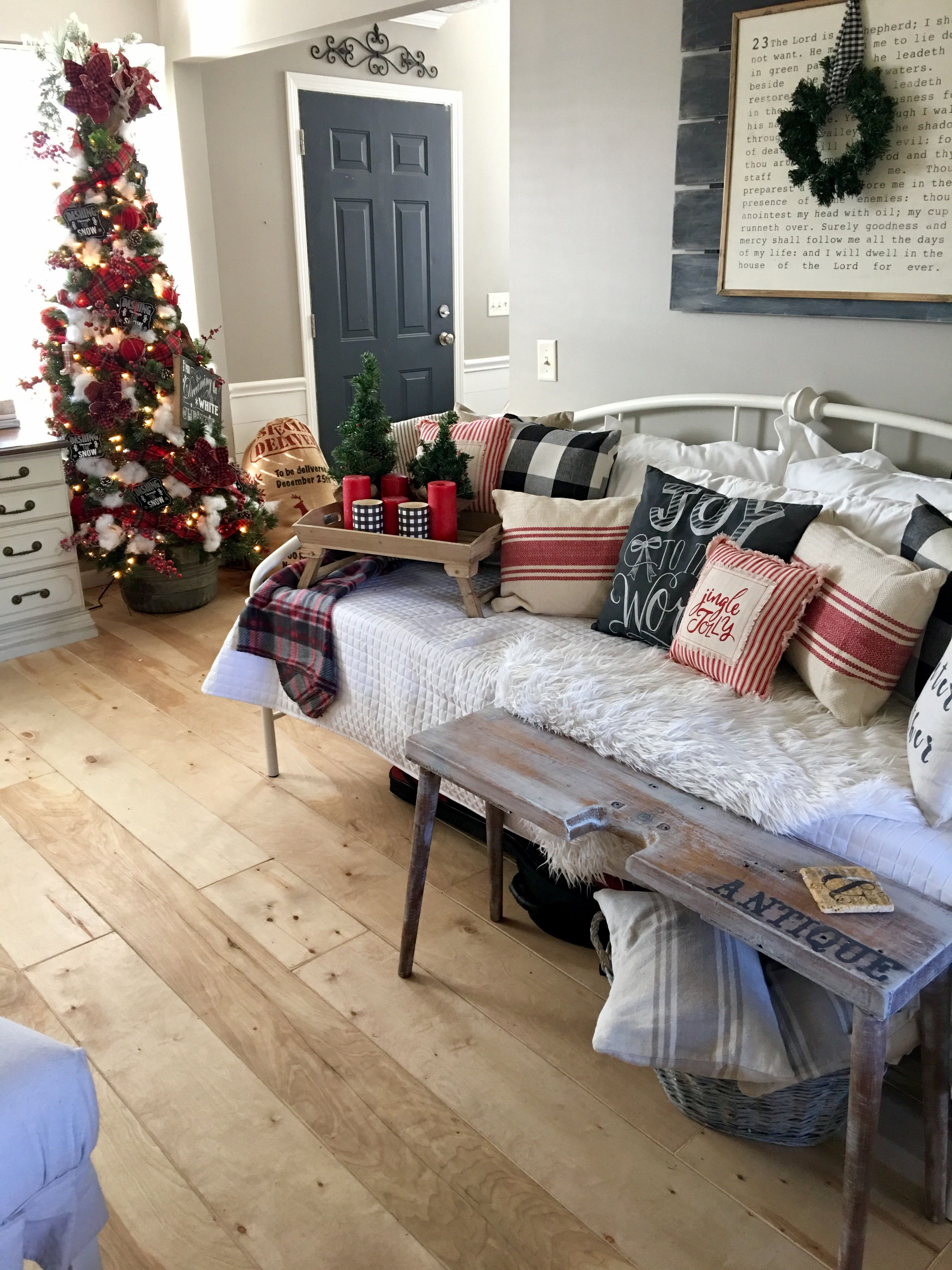 living room decorating ideas red and black%0A The Other Side of Neutral  Farmhouse Christmas decor  Red  black and  buffalo check