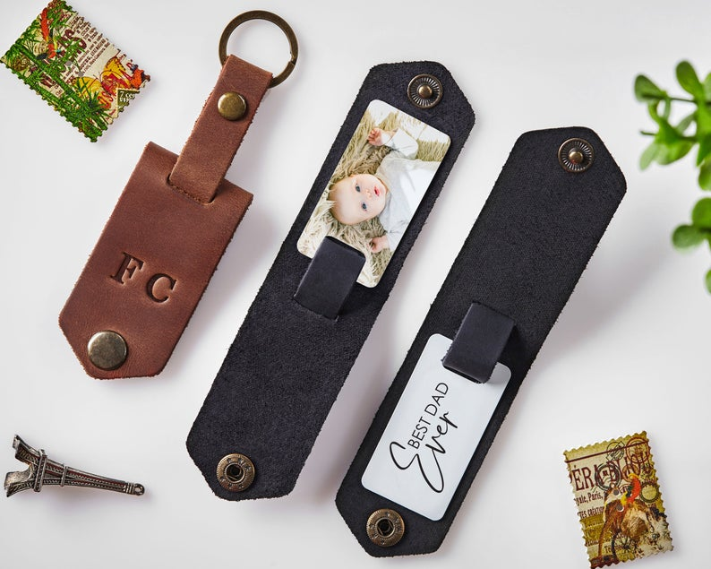 Pin On Leather Keychain With Photo