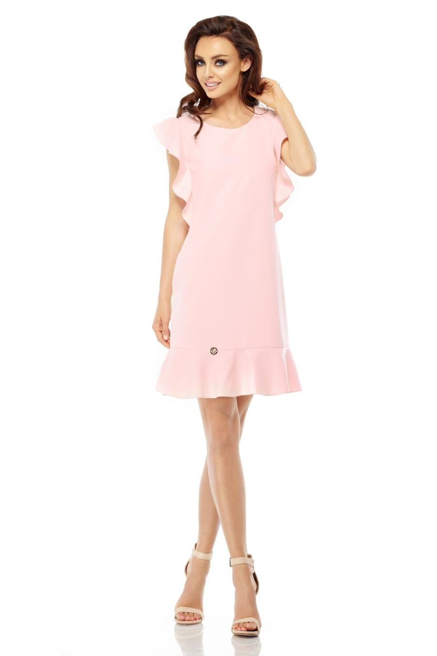 21e182a7b4 Trapezowa Sukienka z Falbankami Różowa LEL248