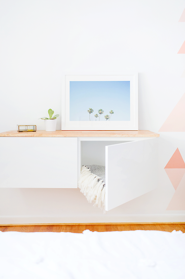 this modern diy floating credenza ikea hack frees up space will rh pinterest cl