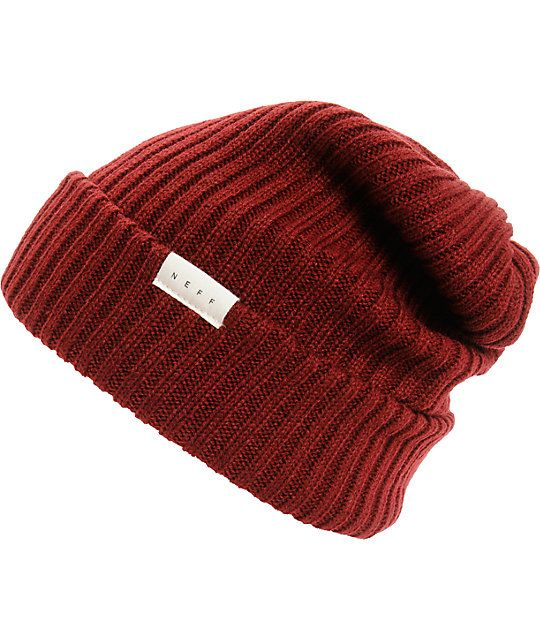 ... any outfit with a stylish maroon colorway in a wide ribbed knit acrylic  construction and a slightly oversize design for a slouchy fold over look  96d7d2ae5fa