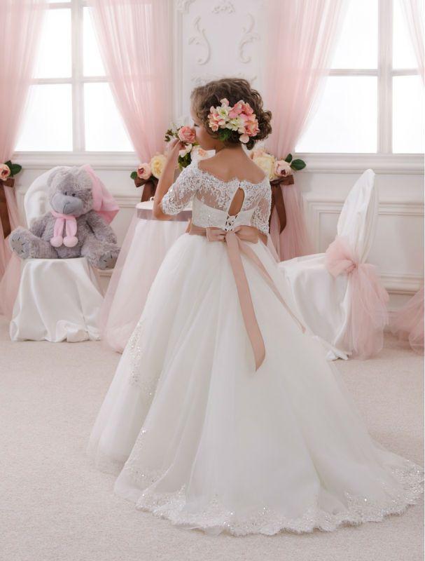 87cea29d68 Elegant White Boat neckline Half Sleeve Lace First Communion Dresses for  Weddings Sashes Lace up Vestidos de Comunion de Festa