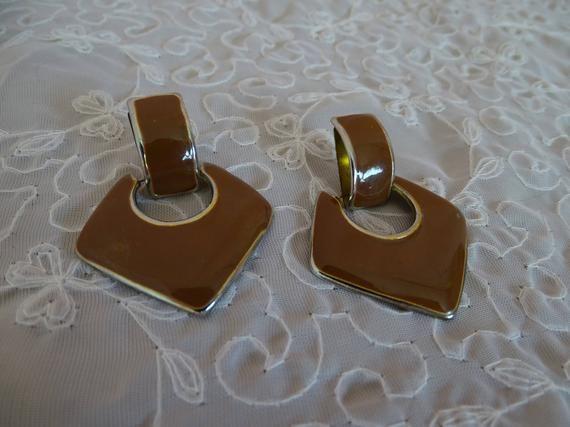 Vintage Brown Pierced Earrings, 1970's Dangle Jewelry, Trendy Enamel Earrings, Drop Style Geometric