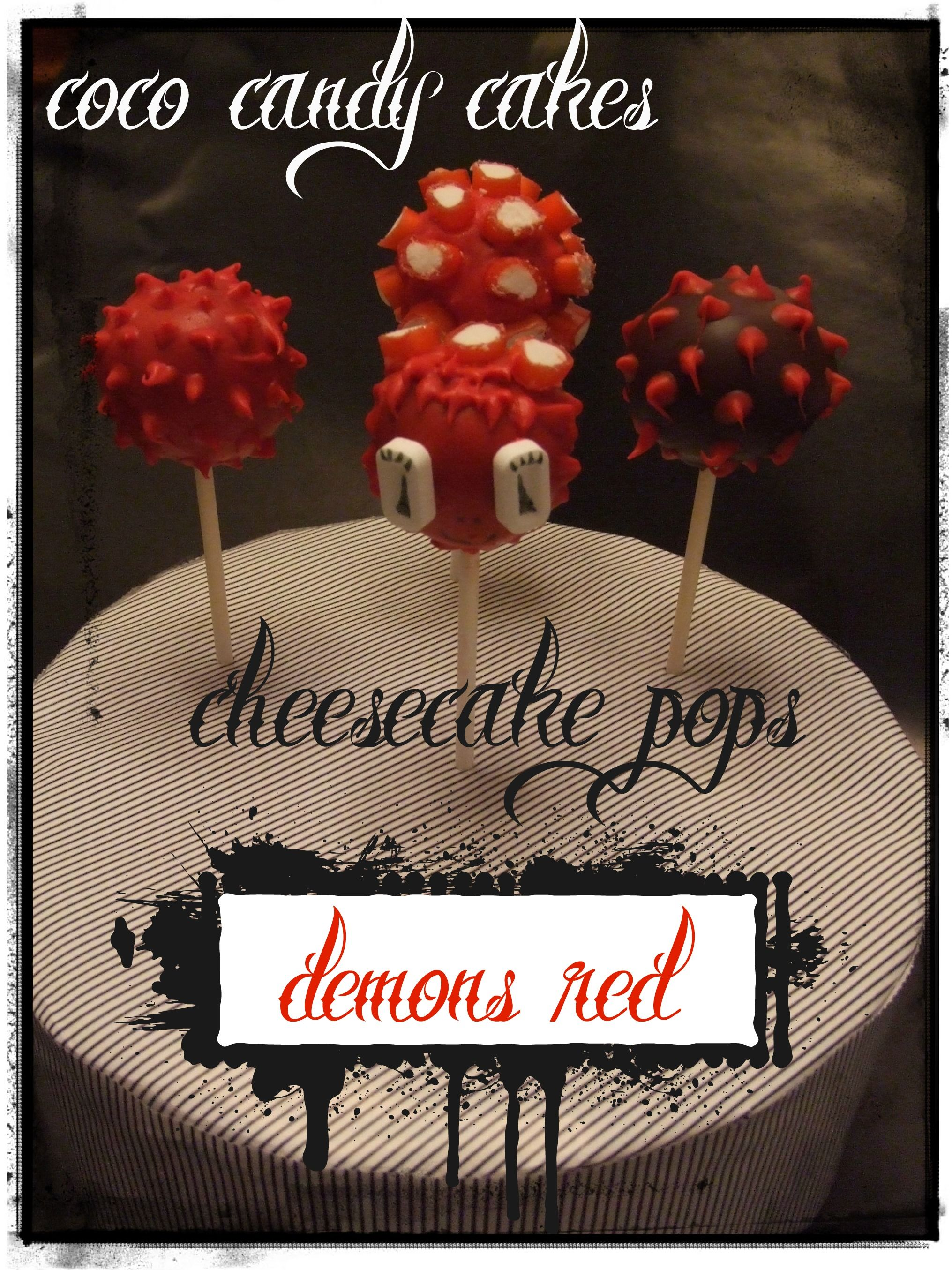 """""""Demons Red cheesecake pops"""" de coco candy cakes."""