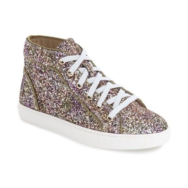 Steve Madden 'Levels' Glitter High Top Sneaker ($90) ❤ liked on Polyvore