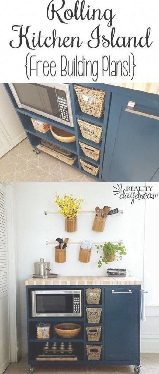 Custom Diy Rolling Kitchen Island With Butcher Block Top And A Place For The Microwave And Trash Kitchen Sideboard Kitchen Design Diy Kitchen Diy Makeover