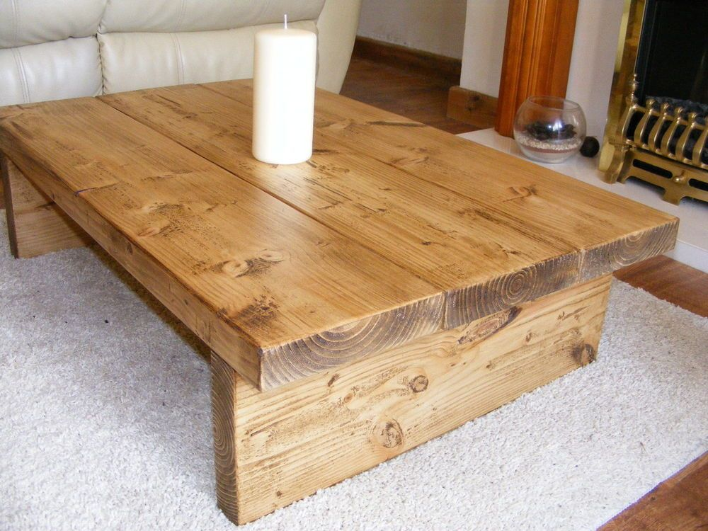 Details about COFFEE TABLE, RUSTIC CHUNKY,HANDMADE,SOLID WOOD