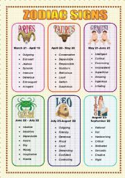 English worksheet: Zodiac Signs and Adjectives - Speaking (3 ...