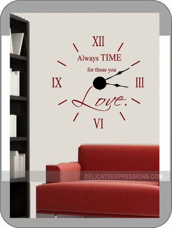 Wall Clock Vinyl Decal And Mechanism Kit By Delicateexpressions Wall Clock Kits Diy Clock Wall Wall Clock Design