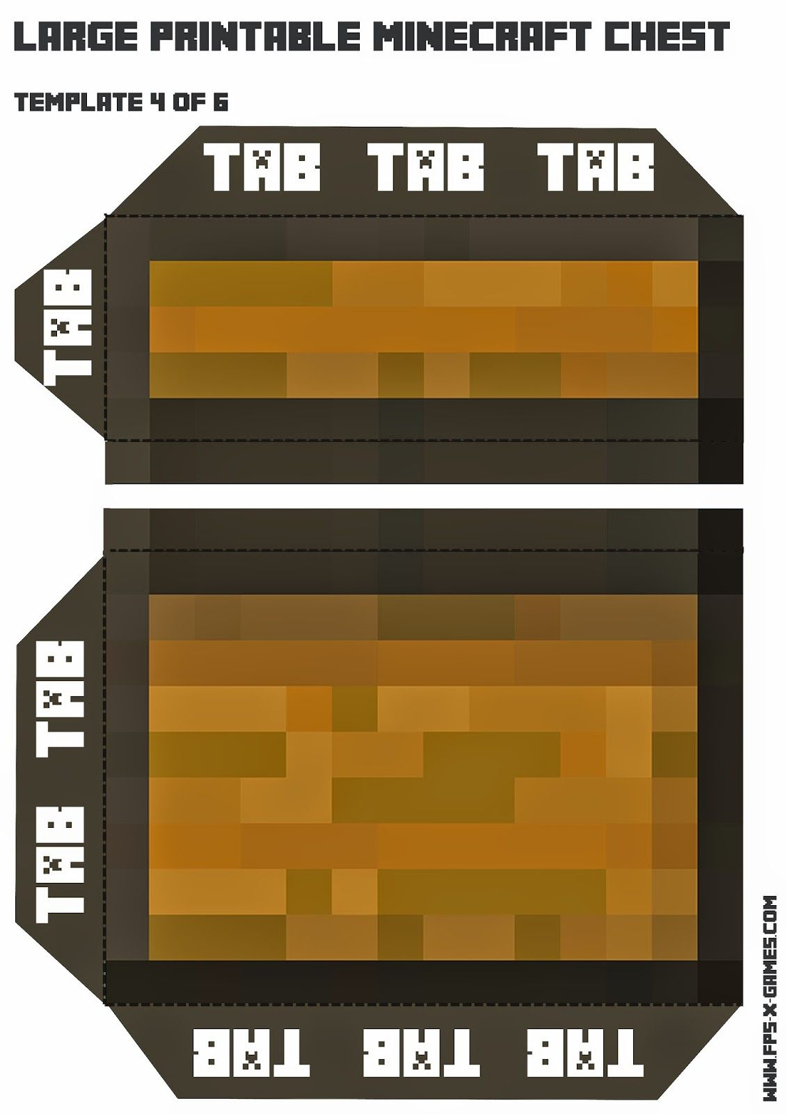 How To Create A Large Printable Minecraft Chest Fpsxgames Minecraft Printables Minecraft Printables Free Large Printable